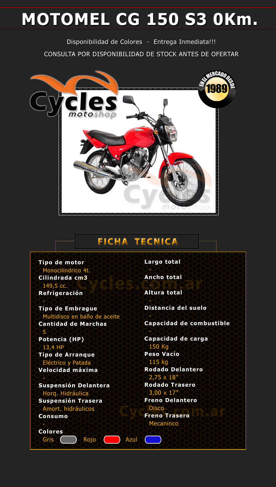 MOTOMEL CG 150 S3